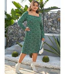 cuadrado de talla grande cuello calico slit diseño mangas largas vestido