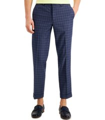 bar iii men's slim-fit stretch plaid cropped dress pants, created for macy's