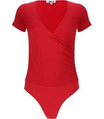 body unicolor escote en v color rojo, talla 8