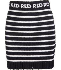 red valentino black and white striped knit mini skirt