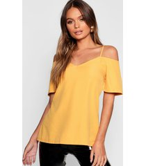 woven strappy open shoulder top, mustard