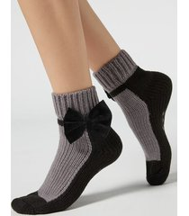 calzedonia patterned non-slip tricot ankle socks woman black size tu