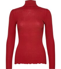 silk t-shirt regular ls roller neck turtleneck coltrui rood rosemunde