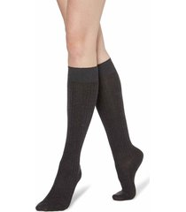 calzedonia - long ribbed socks with cotton and cashmere, 39-41, grey, women