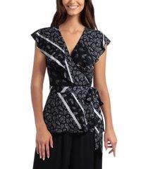 gigi parker women's flutter sleeve wrap top
