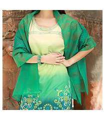 cotton and silk shawl, 'story in turquoise' (india)