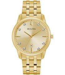 bulova men's sutton diamond-accent gold-tone stainless steel bracelet watch 40mm