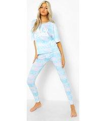 tall pyjama set met wolkenprint t-shirt en leggings, blue