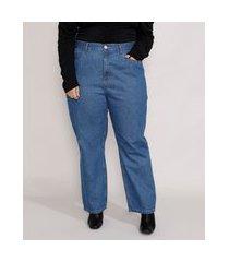 calça jeans feminina plus size mindset reta paris cintura alta azul médio