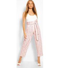 tailored broek met paperbag-taille en pastelruit, roze
