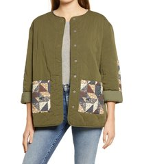 women's treasure & bond patchwork quilted cotton blend jacket, size x-large - green