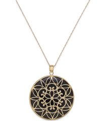 onyx decorative medallion pendant necklace (35mm) in 14k gold