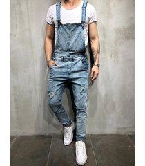 hombres denim ripped pocket streetwear overol suspender mono pantalones