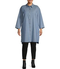 plus long-sleeve high-low cotton tunic