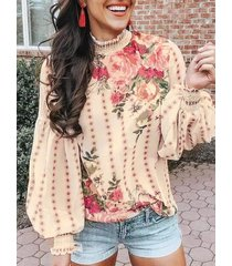 blusa manga larga beige tropical crew cuello