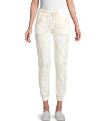 rd style women's tie-dye waffle-knit jogging pants - beige white - size m