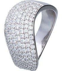 anello in argento fascia ondulata con pavé di zirconi per donna