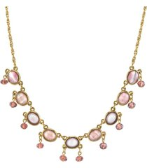 "2028 gold tone oval lt. dk. amethyst color drop beaded necklace 16"" adjustable"