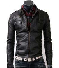 handmade men slimfit leather jacket belted collar, mens slim fit leather jacket