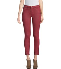 frame denim women's le high coated crop skinny jeans - hunter red - size 27 (4)