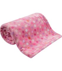 cobertor bebê microfibra flannel camesa rosa poa - kanui