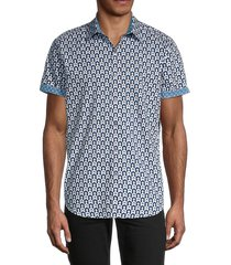 robert graham men's classic-fit printed shirt - blue - size xl