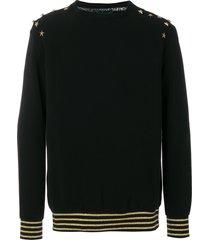 cavalli class star studded sweatshirt - black