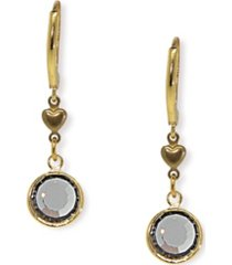 2028 gold-tone black diamond channel crystal drop earring
