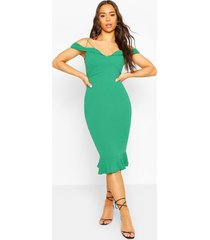 off shoulder frill hem midi dress, jade