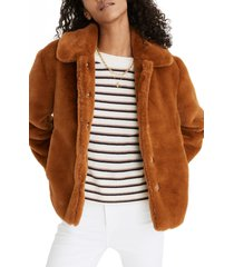 women's madewell faux fur crop coat, size x-small - brown