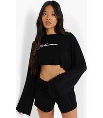 petite woman pyjama set met shorts, black