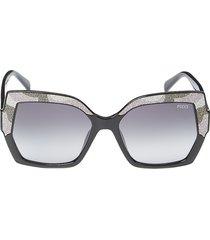 emilio pucci women's 56mm injected oversized square sunglasses - black