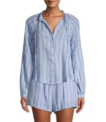 allison new york women's striped cotton blouse - blue - size s