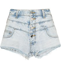 amiri embroidered stripe denim shorts - blue