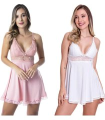 kit 2 camisolas estilo sedutor em microfibra e renda 1 rosê / 1 branca - dr167-v42