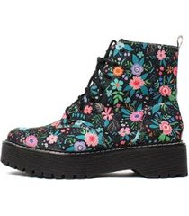 bota damannu shoes coturno kristy floral feminina