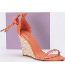 amaro feminino sandália anabela com vinil, laranja