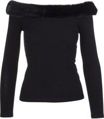 blumarine black off the shoulder sweater with mink