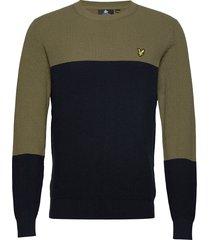 colour block knitted jumper stickad tröja m. rund krage grön lyle & scott