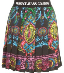 versace jeans couture panel bijoux satin placed skirt