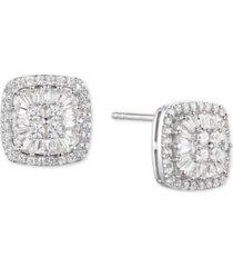 diamond baguette square stud earrings (1/2 ct. t.w.) in 14k gold, 14k white gold or 14k rose gold