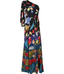 peter pilotto floral one-shoulder dress - blue
