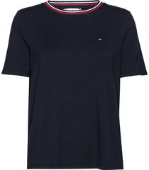 bree relaxed round-nk top ss t-shirts & tops short-sleeved blå tommy hilfiger