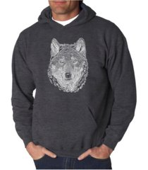 la pop art men's wolf word art hooded sweatshirt