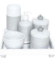 kit higiene espelho completo porcelanas, garrafa pequena e capa coroa prata quarto bebê unissex