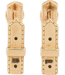 hermès 1980's pre-owned 18kt gold belt motif cufflinks