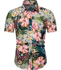 hawaii floral leaf pattern beach button up shirt