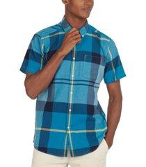 barbour men's tailored-fit douglas textured tartan shirt