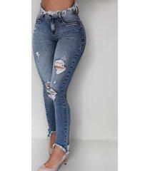 jeans de cintura alta con cinco bolsillos y borlas clásicas