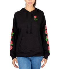rebellious one juniors' rose hooded sweatshirt